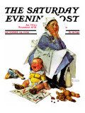 """Exasperated Nanny"" Saturday Evening Post Cover  October 24 1936"