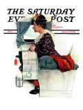 &quot;Airplane Trip&quot; or &quot;First Flight&quot; Saturday Evening Post Cover  June 4 1938