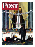 """Party's Over"" or ""Happy New Year"" Saturday Evening Post Cover  December 29 1945"