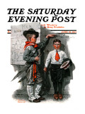 """Necessary Height"" Saturday Evening Post Cover  June 16 1917"