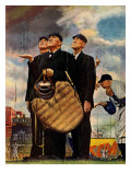 """Bottom of the Sixth""  (Three Umpires), April 23,1949 Giclée par Norman Rockwell"