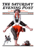 """Leapfrog"" Saturday Evening Post Cover  June 28 1919"