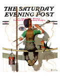 """""""Signpainter"""" Saturday Evening Post Cover, February 9,1935 Giclée par Norman Rockwell"""