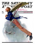 &quot;Flying Uncle Sam&quot; Saturday Evening Post Cover  January 21 1928