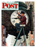&quot;Clock Repairman&quot; Saturday Evening Post Cover  November 3 1945