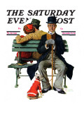 """Overheard Lovers"" (man on park bench) Saturday Evening Post Cover  November 21 1936"