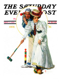 """Croquet"" or ""Wicket Thoughts"" Saturday Evening Post Cover, September 5,1931 Giclée par Norman Rockwell"