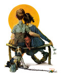 """Little Spooners"" or ""Sunset"", April 24,1926 Giclée par Norman Rockwell"