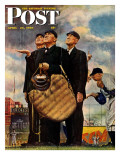 &quot;Bottom of the Sixth&quot;  (Three Umpires) Saturday Evening Post Cover  April 23 1949