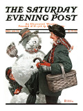 &quot;Gramps and the Snowman&quot; Saturday Evening Post Cover  December 20 1919