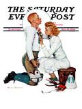 """Letter Sweater"" (boy & girl) Saturday Evening Post Cover, November 19,1938 Giclée par Norman Rockwell"