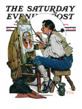 """Colonial Sign Painter"" Saturday Evening Post Cover  February 6 1926"
