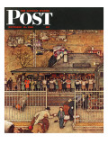 """Commuters"" (waiting at Crestwood train station) Saturday Evening Post Cover  November 16 1946"