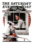 &quot;Dog Outside&quot; or &quot;Patient Friend&quot; Saturday Evening Post Cover  June 10 1922