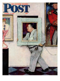 """Picture Hanger"" or ""Museum Worker"" Saturday Evening Post Cover  March 2 1946"