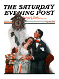"""Courting under the Clock at Midnight"" Saturday Evening Post Cover  March 22 1919"