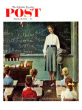 """Happy Birthday, Miss Jones"" Saturday Evening Post Cover, March 17,1956 Giclée par Norman Rockwell"