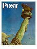 """Working on the Statue of Liberty"" Saturday Evening Post Cover, July 6,1946 Giclée par Norman Rockwell"