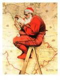 """Santa at the Map"", December 16,1939 Giclée par Norman Rockwell"