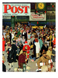 &quot;Union Train Station  Chicago  Christmas&quot; Saturday Evening Post Cover  December 23 1944