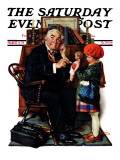 """Doctor and the Doll"" Saturday Evening Post Cover, March 9,1929 Giclée par Norman Rockwell"