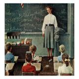 """Happy Birthday, Miss Jones"", March 17,1956 Giclée par Norman Rockwell"