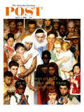"""Golden Rule"" (Do unto others) Saturday Evening Post Cover, April 1,1961 Giclée par Norman Rockwell"
