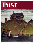 &quot;Changing a Flat&quot; Saturday Evening Post Cover  August 3 1946