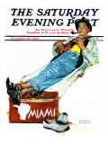 &quot;Hitchhiker to Miami&quot; Saturday Evening Post Cover  November 30 1940
