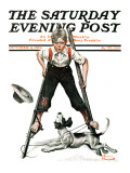"""Boy on Stilts"" Saturday Evening Post Cover  October 4 1919"