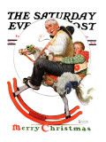 """Gramps on Rocking Horse"" Saturday Evening Post Cover  December 16 1933"