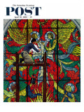&quot;Repairing Stained Glass&quot; Saturday Evening Post Cover  April 16 1960
