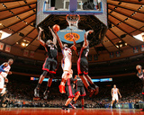 Miami Heat v New York Knicks: Raymond Felton  Joel Anthony and LeBron James