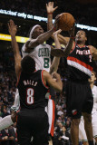Portland Trail Blazers v Boston Celtics: Marquis Daniels  Marcus Camby and Patrick Mills