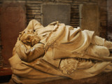 Close Up of a Marble Sculpture of a Sleeping  Bearded Man