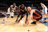 Miami Heat v Washington Wizards: Zydrunas Ilgauskas  Dwyane Wade and Andray Blatche