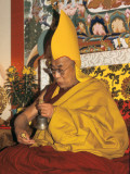 The Dalai Lama Holding a Handbell (Drilbu) and a 'Dorje'