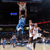 Minnesota Timberwolves v Oklahoma City Thunder: Corey Brewer  Russell Westbrook and Thabo Sefolosha