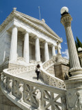 A Student Climbs the Stairs to the National Library in Athens