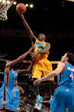Oklahoma City Thunder v New Orleans Hornets: Quincy Pondexter  James Harden and Nick Collison