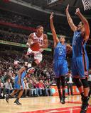Oklahoma City Thunder v Chicago Bulls: Derrick Rose  Nenad Krstic and Thabo Sefolosha