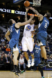 Minnesota Timberwolves v Golden State Warriors: Nikola Pekovic  Michael Beasley and Monta Ellis