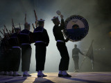 A Naval Band Performs with Bagpipes and Drums