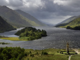 Highlanders&#39; Statue on the Edge of Loch Shiel During a Rain Storm