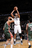 Milwaukee Bucks v San Antonio Spurs: Tim Duncan and Andrew Bogut