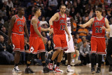 Chicago Bulls v Phoenix Suns: Derrick Rose  Joakim Noah and Kyle Korver