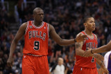 Chicago Bulls v Phoenix Suns: Luol Deng and Derrick Rose