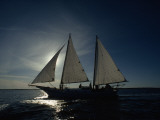 A Backlit Sailboat on the Atlantic Ocean