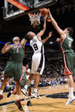 Milwaukee Bucks v San Antonio Spurs: Tony Parker  Drew Gooden and Andrew Bogut