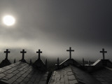 Sun Shining Through Fog on Mausoleums